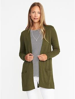 Open-Front Long-Line Sweater for Women - Olive Heather